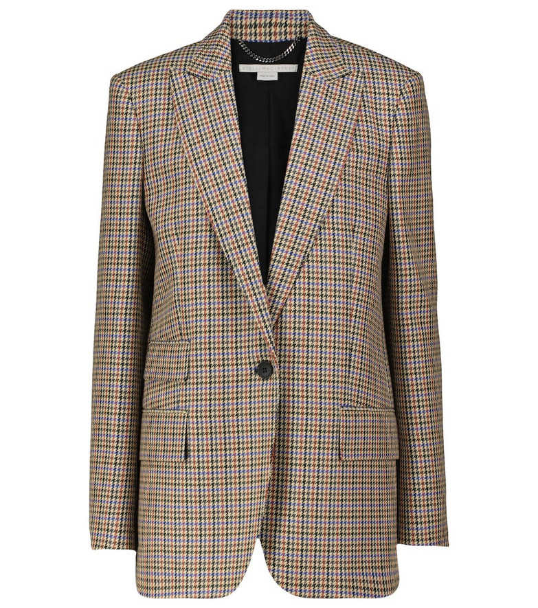 STELLA McCARTNEY Checked single-breasted wool blazer in beige