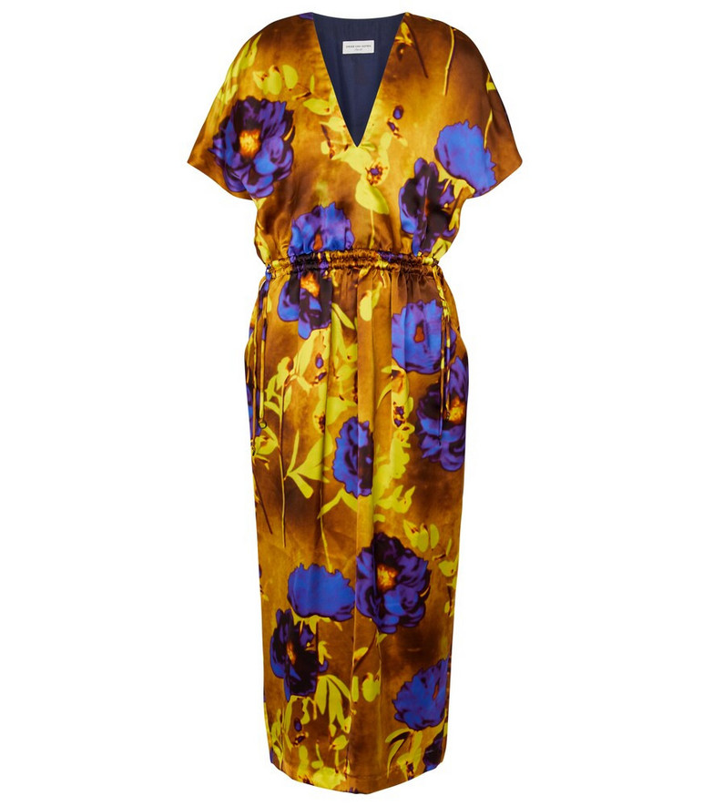 Dries Van Noten Printed satin midi dress