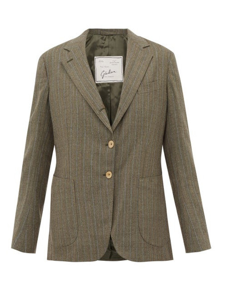 Giuliva Heritage Collection - The Andrea Pinstriped Single Breasted Wool Blazer - Womens - Grey Multi