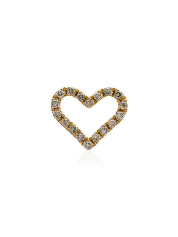 Rosa de la Cruz 18K yellow gold diamond heart stud earring