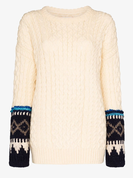 Rentrayage Isle of Skye Fairisle cable knit sweater in neutrals