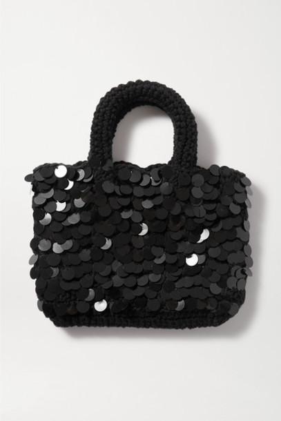 Nannacay - Net Sustain Bonsai Mini Sequin-embellished Macramé Tote - Black