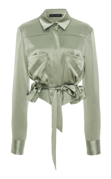 Sally LaPointe Cropped Belted Satin Blouse Size: 0 in green