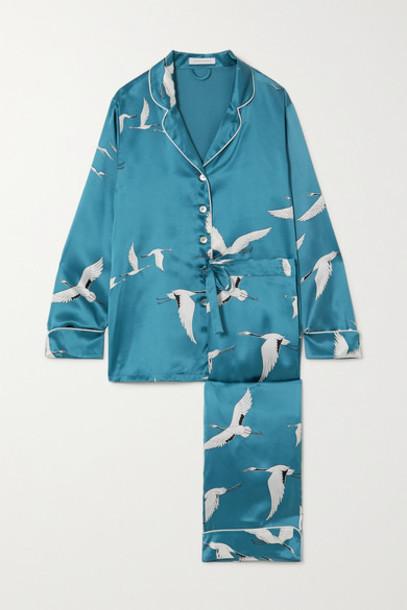 Olivia von Halle - Lila Printed Silk-satin Pajama Set - Blue