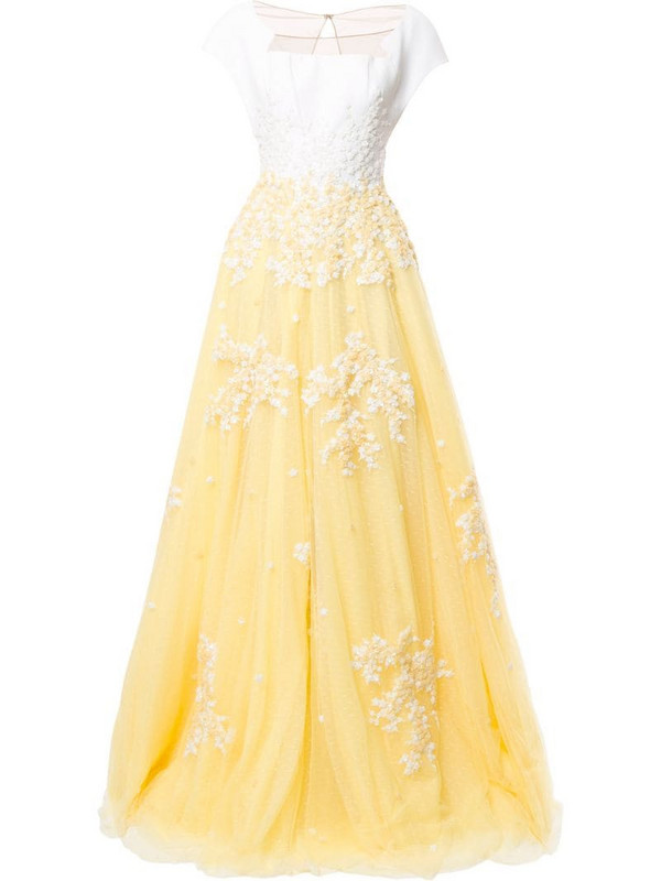 Saiid Kobeisy embroidered contrast flared dress in yellow
