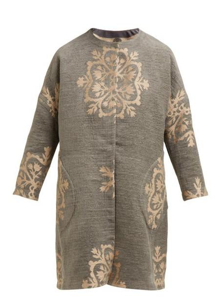 Marit Ilison - Reversible Single Breasted Floral Intarsia Coat - Womens - Grey Multi