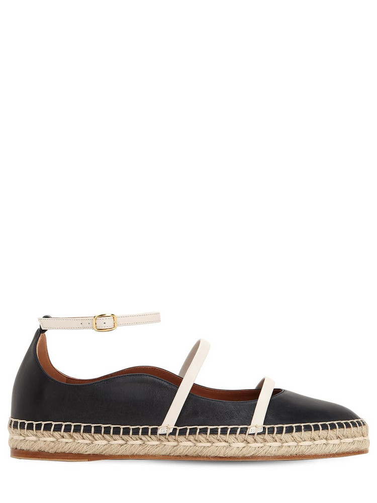 MALONE SOULIERS 20mm Selina Leather Espadrilles in navy / cream