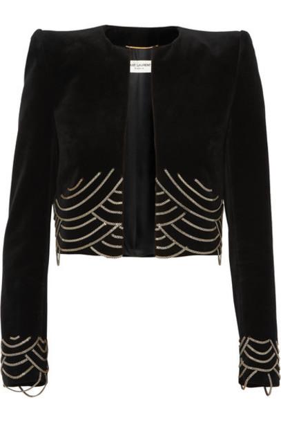 SAINT LAURENT - Cropped Embellished Cotton-velvet Blazer - Black
