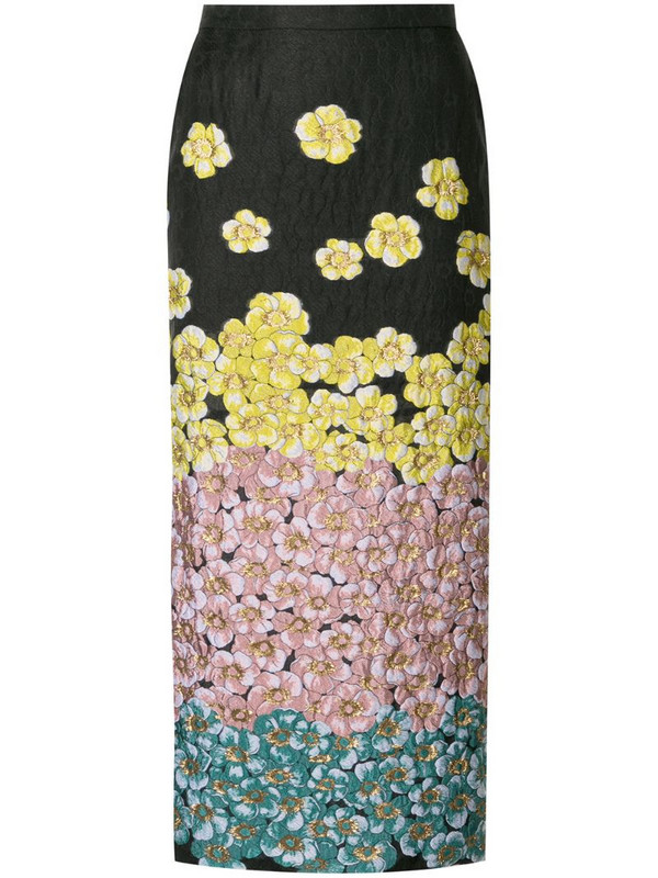 Saiid Kobeisy floral-embroidered pencil skirt in black