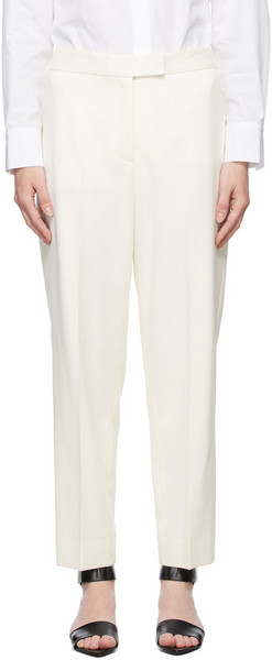 Partow White Wool Billie Trousers in ivory