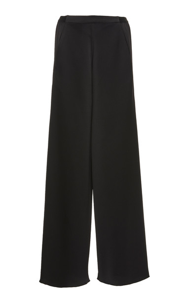 Christopher Esber Bias Wide-Leg Satin Trousers in black