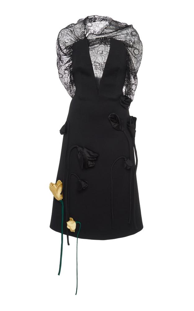 Prada Deep V-Neck Lace Appliqué Midi Dress Size: 38 in black