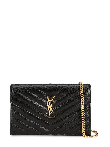 SAINT LAURENT Sm Monogram Quilted Leather Bag in black