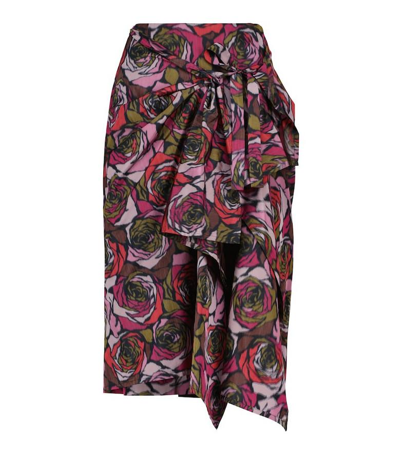 Dries Van Noten Floral midi skirt in red