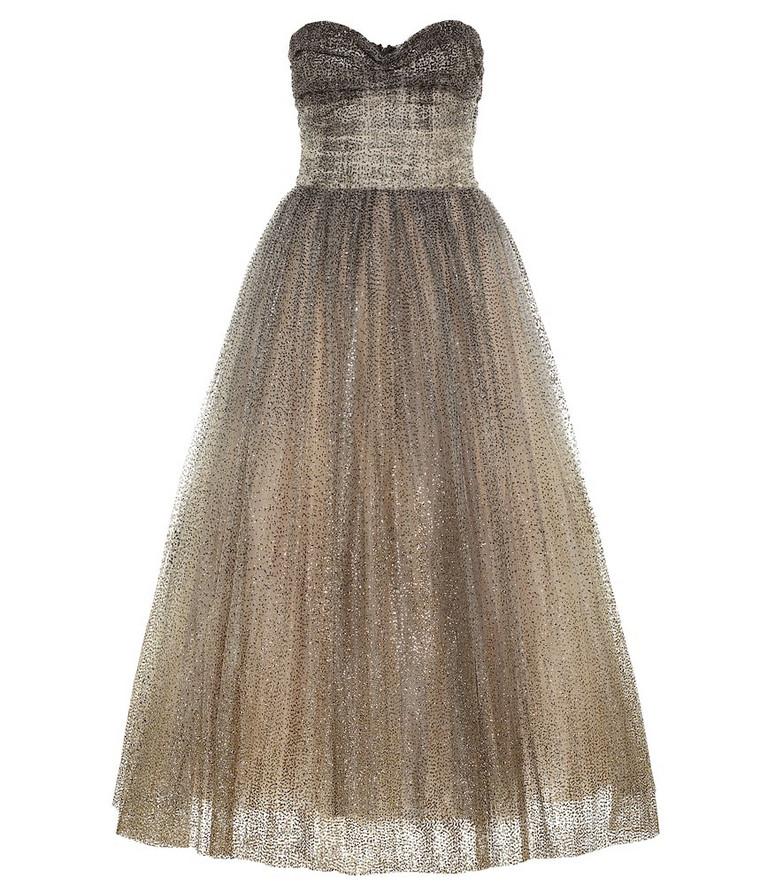 Monique Lhuillier Strapless tulle gown in black