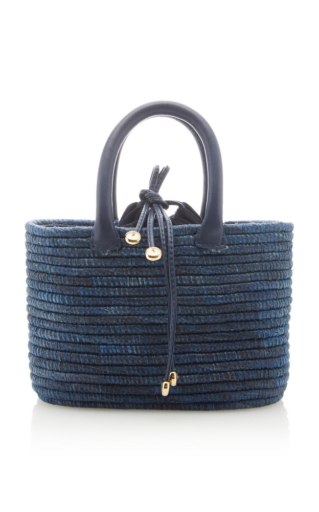 Cesta Collective Mini Leather-Trimmed Sisal Tote in navy