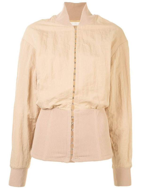 Dion Lee hook-and-eye bomber jacket in neutrals
