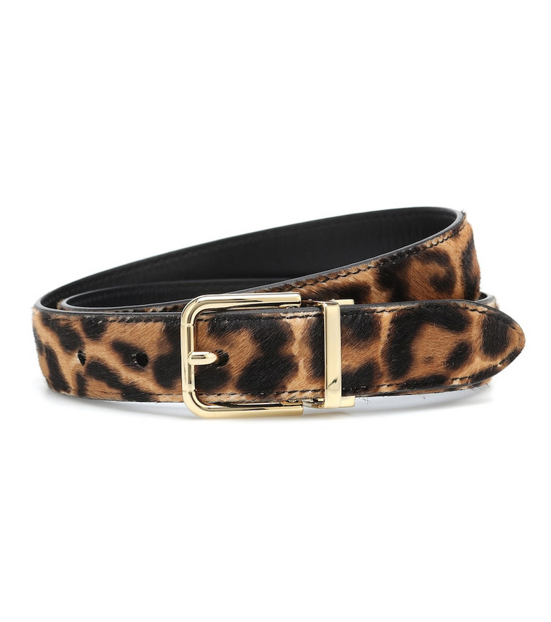 Dolce & Gabbana Leopard-print calf hair belt in brown