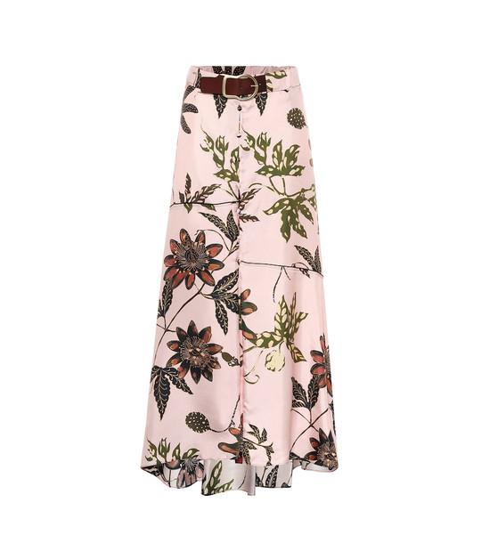 Dorothee Schumacher Floral high-rise silk-faille skirt in pink
