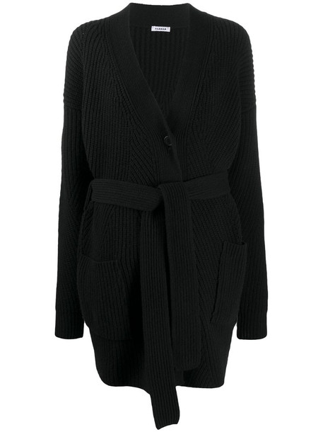 P.A.R.O.S.H. long-line belted cardigan in black
