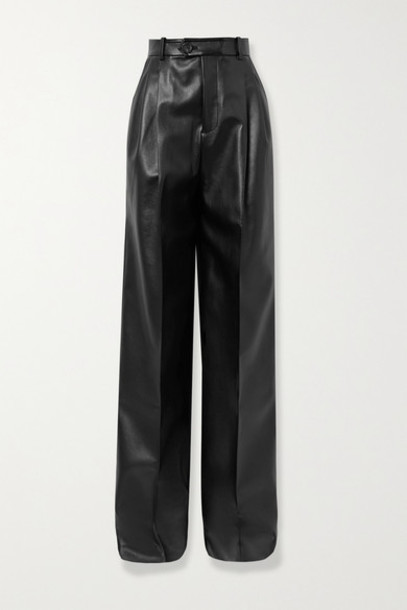 Peter Do - Pleated Faux Leather Straight-leg Pants - Black
