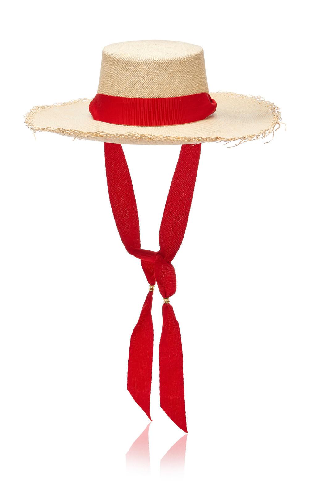 Sensi Studio Frayed Grosgrain-Trimmed Straw Hat in neutral