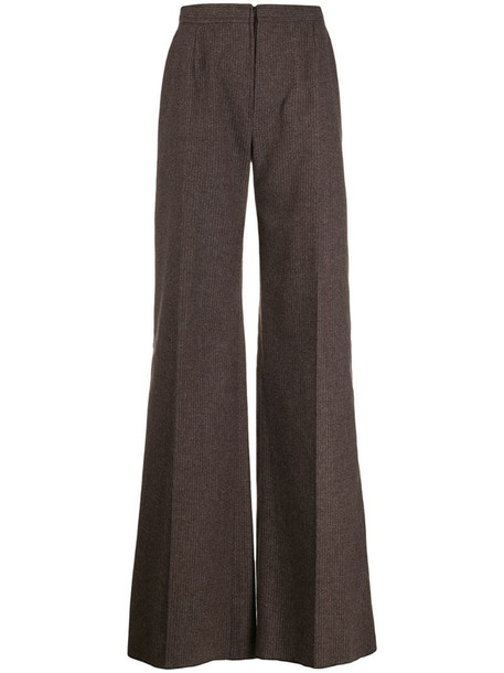 Emanuel Ungaro Pre-Owned 1970's pinstriped flared trousers in brown