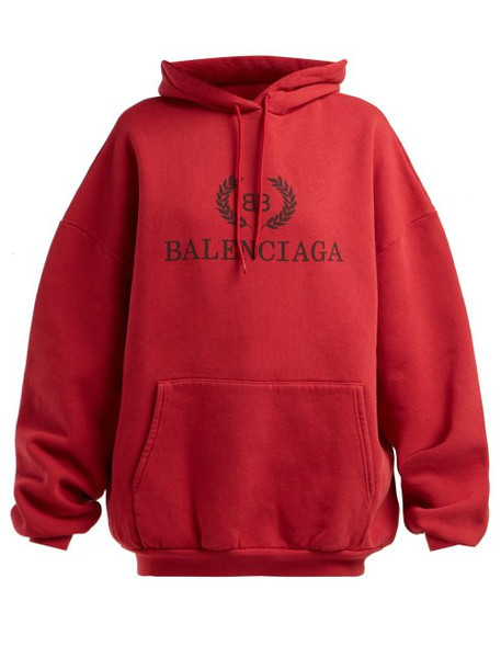 Balenciaga - Logo Print Cotton Sweatshirt - Womens - Burgundy