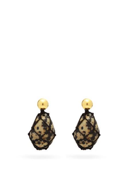 Bottega Veneta - 18kt Gold-vermeil Drop Earrings - Womens - Black White