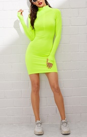 dress,girly,girl,girly wishlist,neon,green,zipped skirt,zipper dress,bodycon dress,bodycon,long sleeve dress,long sleeves,mini,mini dress,trendy