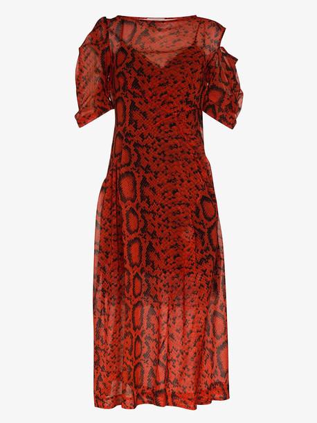 Preen By Thornton Bregazzi Franny printed midi-dress in red