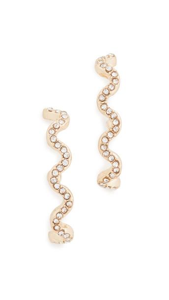 BaubleBar Helix Lobe Wrap Stud Earrings in gold / clear