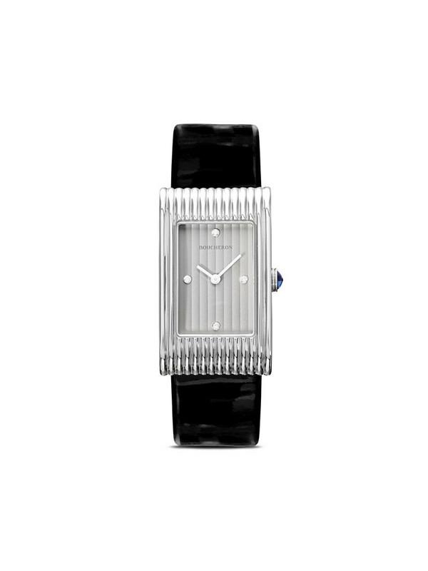 Boucheron medium diamond Reflet black leather strap watch