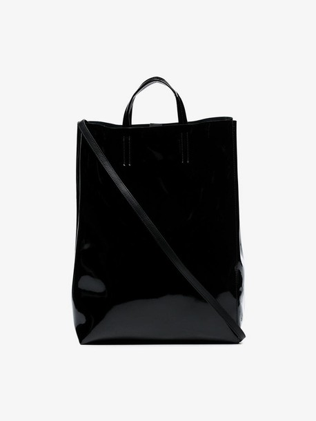 Acne Studios black Baker large patent leather tote