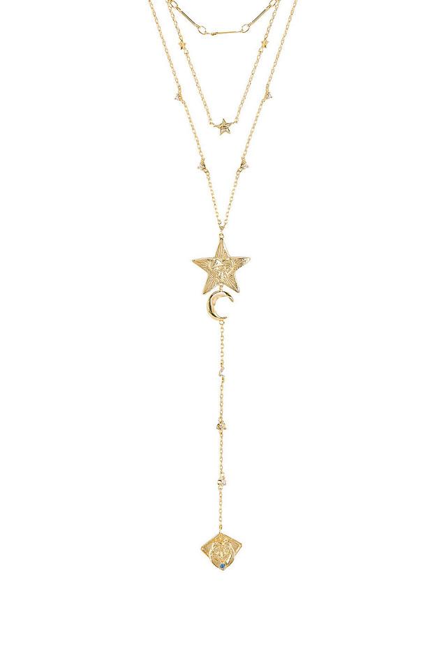 Wanderlust + Co Stella Layered Necklace in gold / metallic