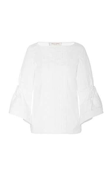 Carolina Herrera Boat Neck Flutter Sleeve Pleated Blouse Size: 0 in white