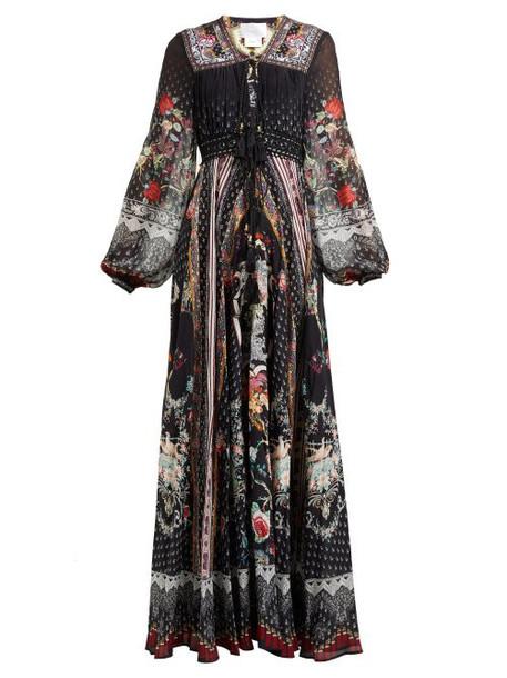 Camilla - Floral Print Silk Chiffon Maxi Dress - Womens - Black Print