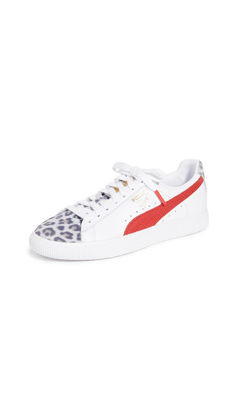 PUMA Clyde Leopard Sneakers in red / white
