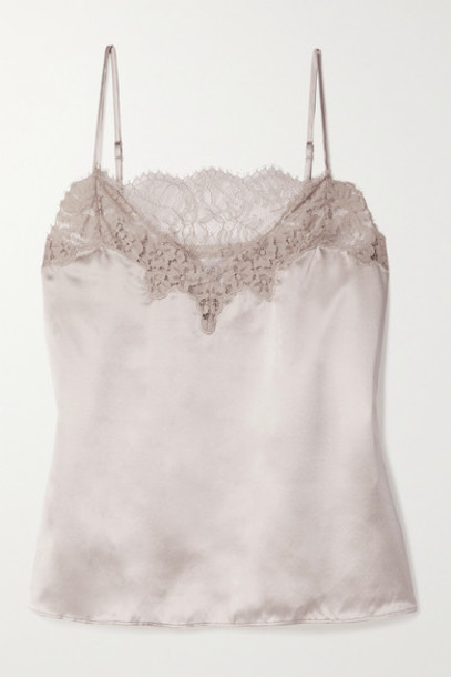 Cami NYC - The Candice Lace-trimmed Silk-charmeuse Camisole - Beige