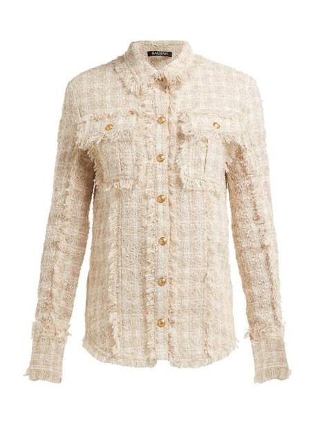 Balmain - Fringed Tweed Safari Shirt Jacket - Womens - Beige