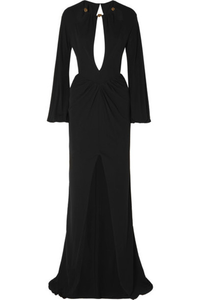 Dundas - Bead-embellished Cutout Georgette Gown - Black