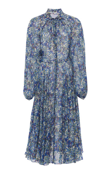 Luisa Beccaria Robe Chemisier Printed Georgette Midi Dress Size: 36 in blue