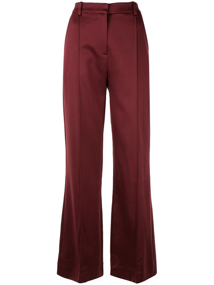 MUNTHE satin flared trousers in red