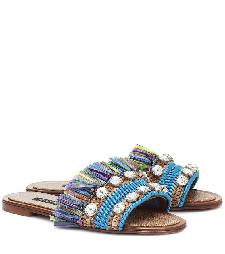 Dolce & Gabbana Bianca embellished raffia sandals in blue
