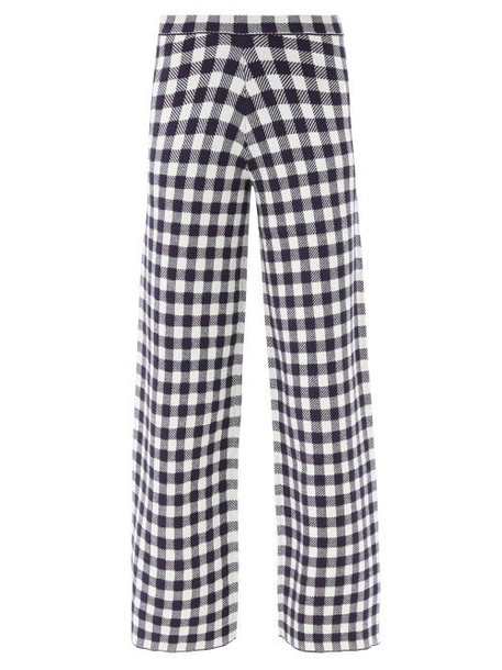 Staud - Avalancha Gingham Wide-leg Knitted Trousers - Womens - Navy White