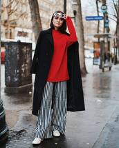 pants,wide-leg pants,stripes,black and white,converse,red sweater,black coat,white sunglasses