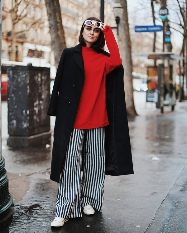 pants wide-leg pants stripes black and white converse red sweater black coat white sunglasses