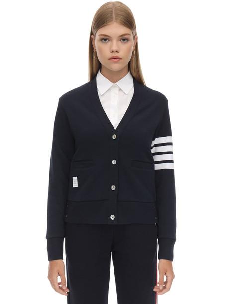 THOM BROWNE V Neck Intarsia Stripes Cotton Cardigan in navy