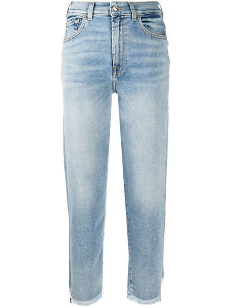 7 For All Mankind high-waisted cropped jeans in blue