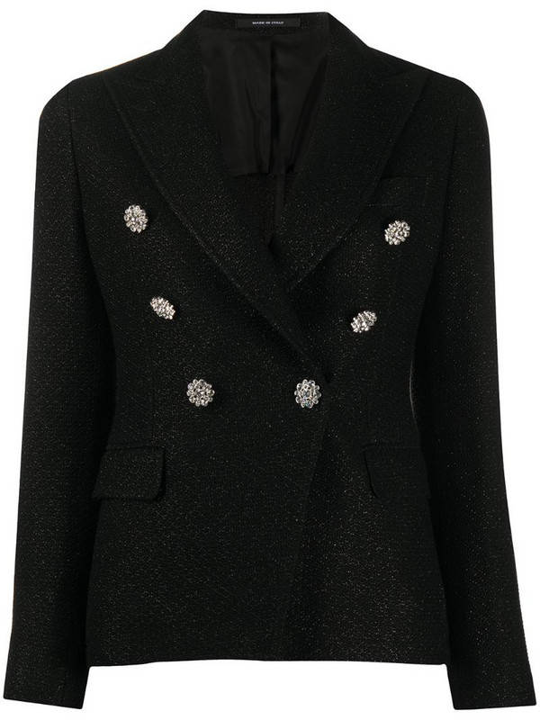 Tagliatore embellished button blazer in black